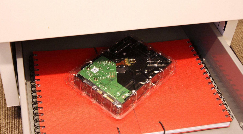 Backupdisk på jobbutplassering.Foto: Vegar Jansen, Hardware.no