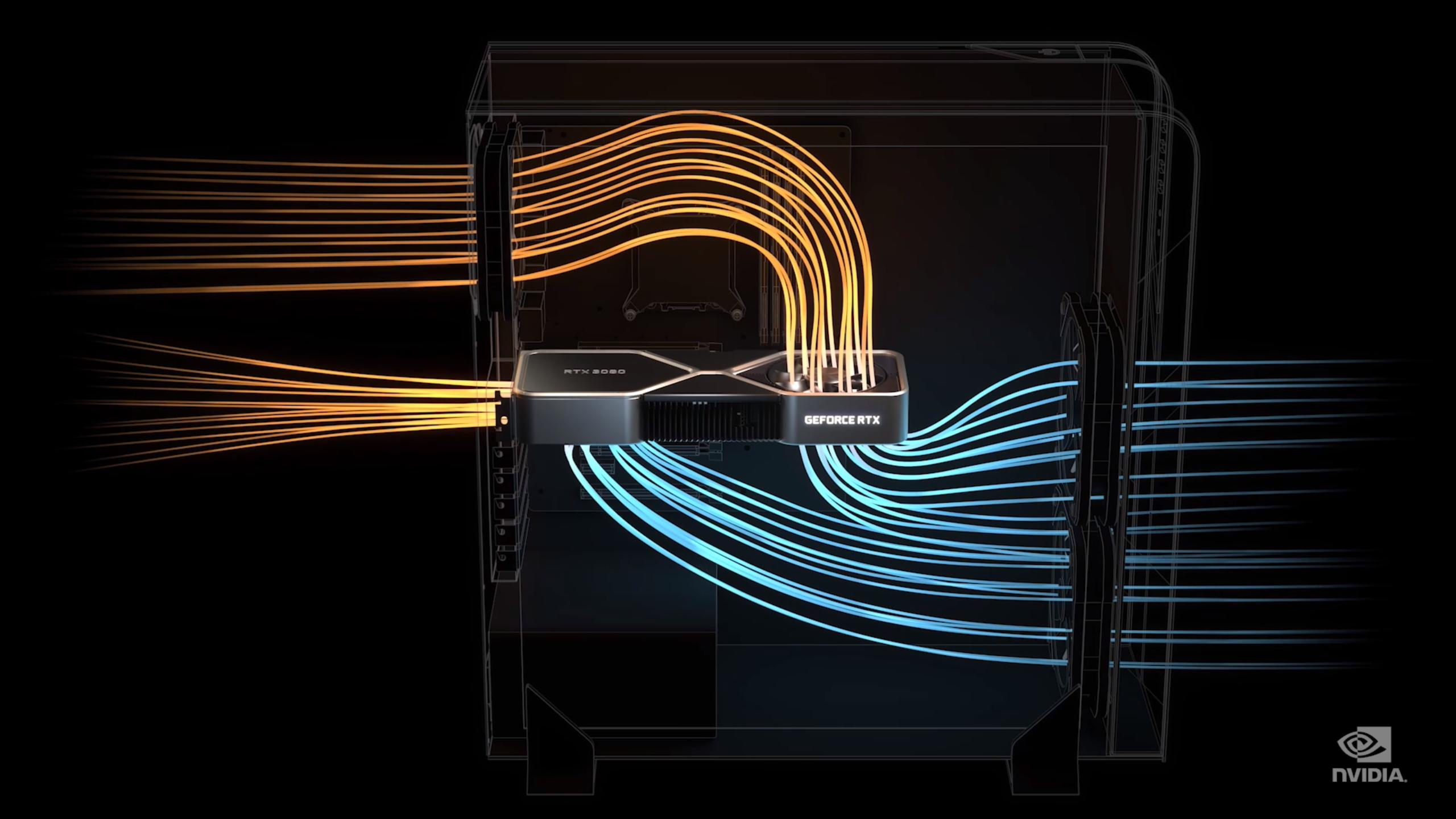 Slik illustrerer Nvidia luftflyten til sine egne RTX 3090 og RTX 3080. RTX 3070 får en mer tradisjonell kjøleløsning.