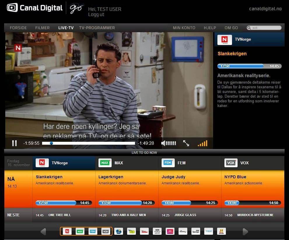 Canal Digital lar deg se direkte TV via nettleseren.Foto: Canal Digital Go