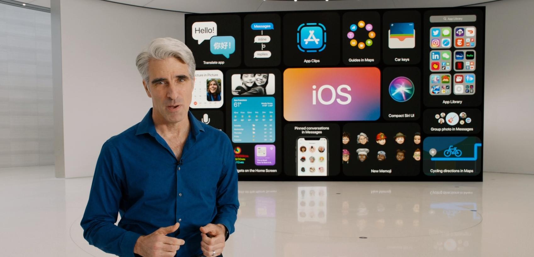 Apples Craig Federighi viste frem nyheter for iOS 14 og iPhone under en skjermpresentasjon fra årets WWDC.
