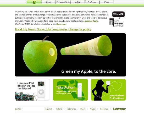 Skjermdump av Greenpace' egen Apple-nettside