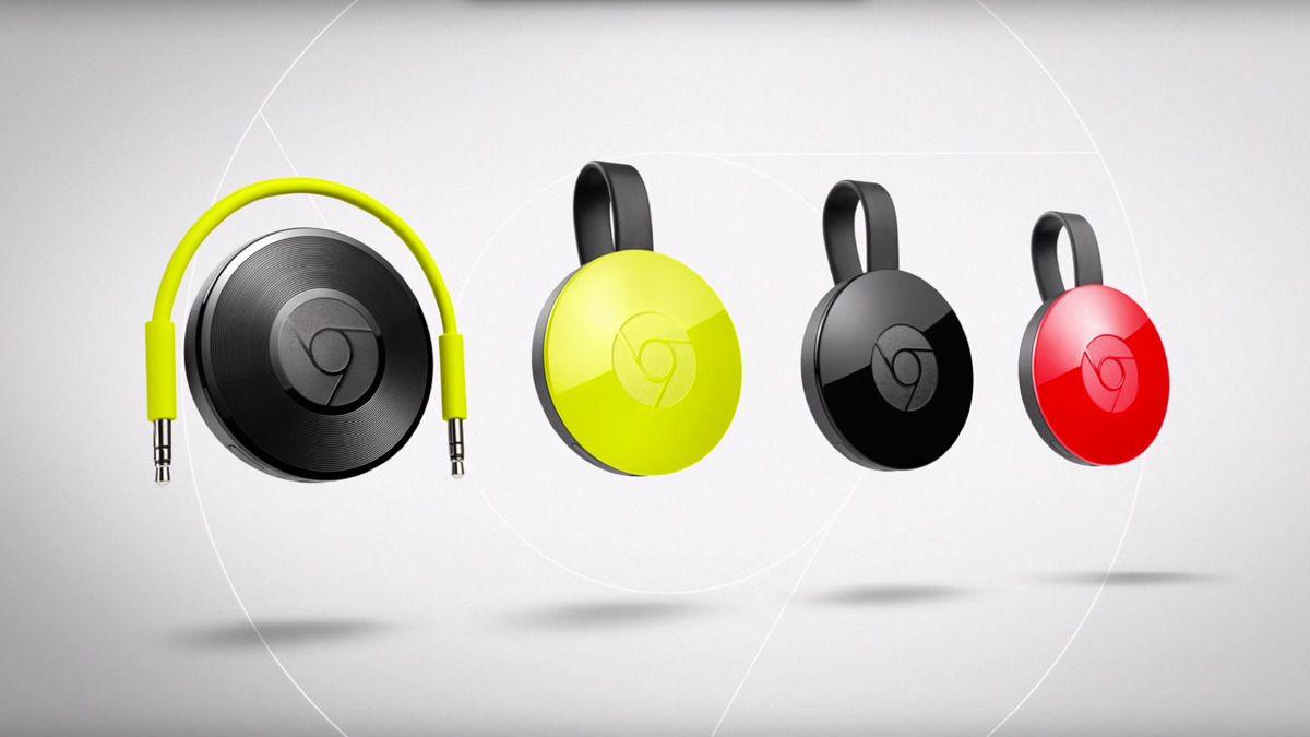 Den nye Chromecast-familien, med Chromecast Audio til venstre. Foto: Skjermdump/Google