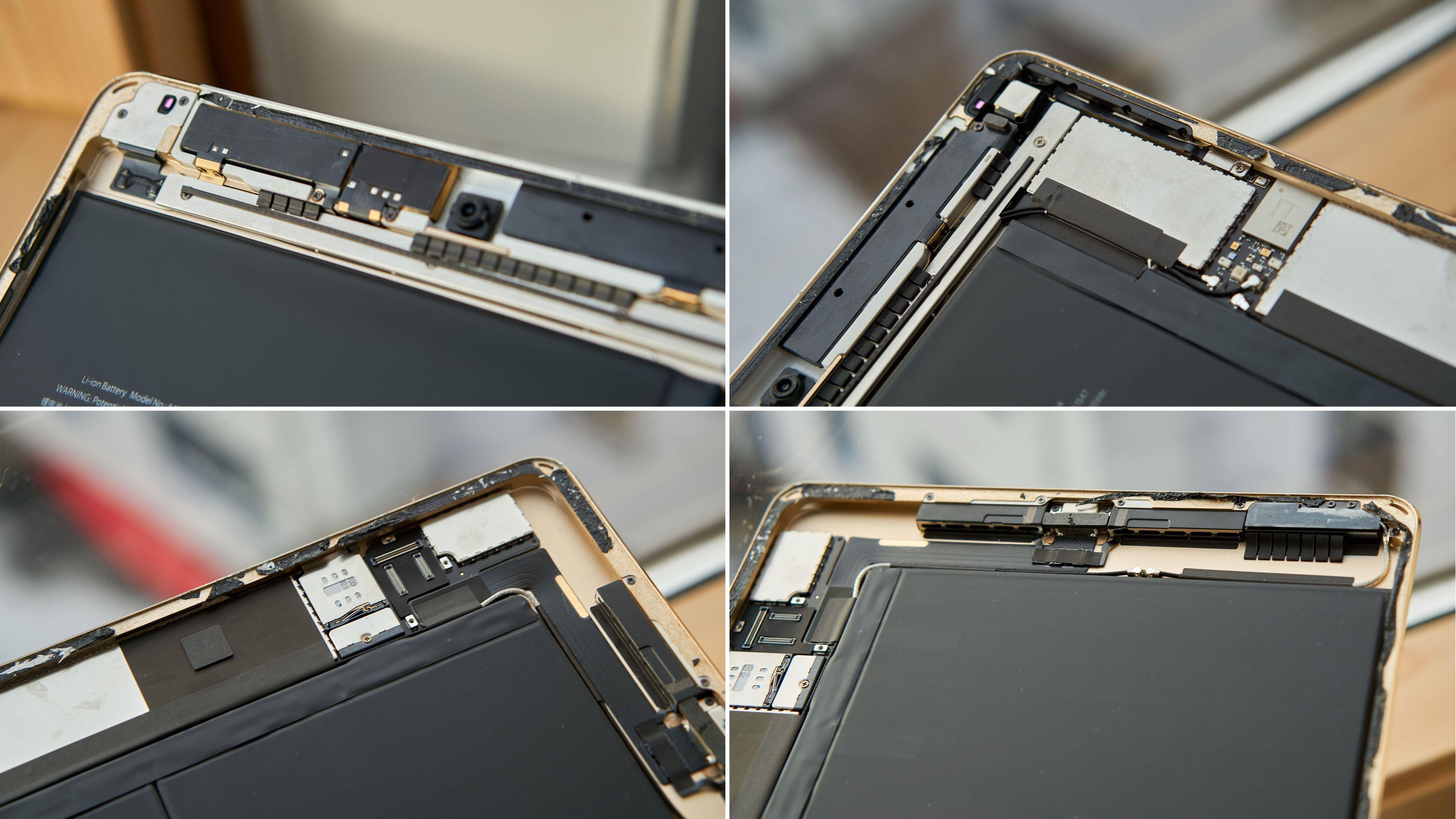 Detaljer fra innsiden av iPad-en.
