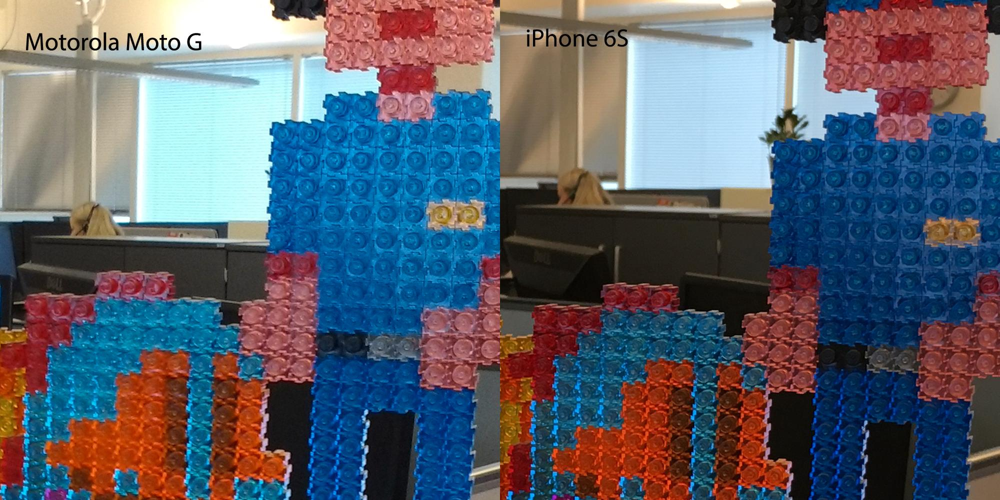 Utsnitt av innendørsbilde tatt med henholdsvis Motorola Moto G (til venstre) og iPhone 6S.