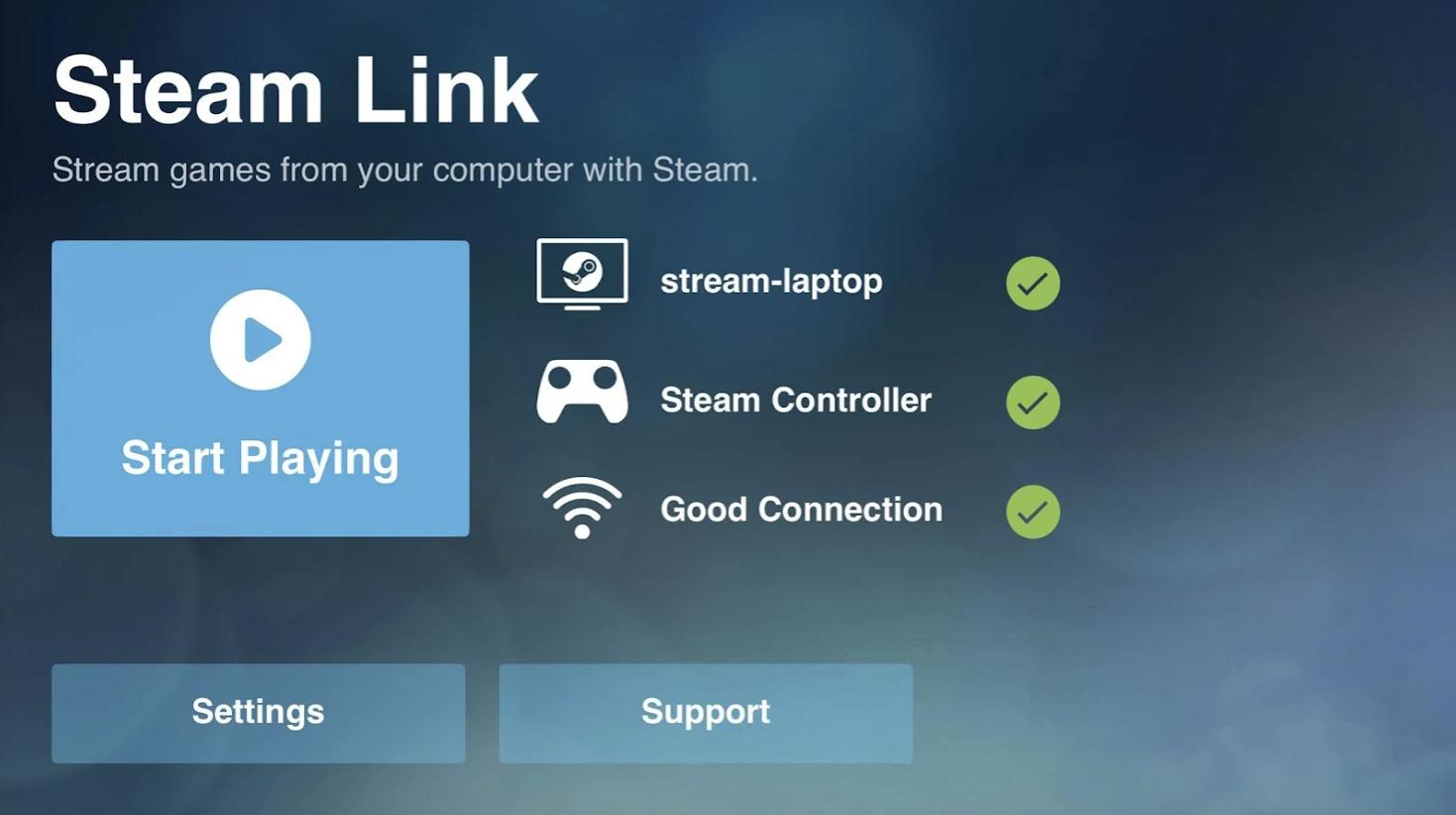 Tilkoblingsgrensesnittet i Steam Link.
