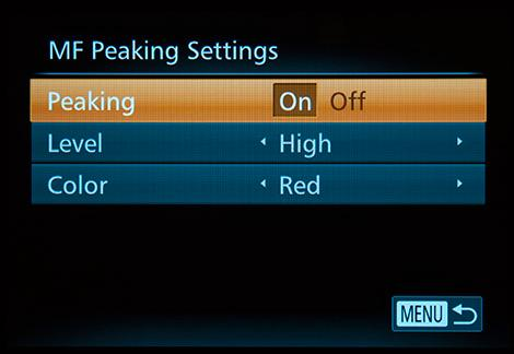Peaking for hjelp til manuell foksuering er en nyhet i forhold til G1 X.