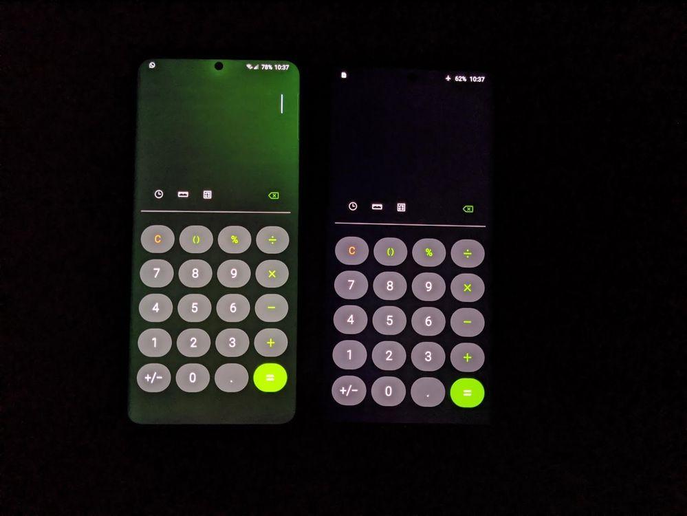 Slik (venstre) ser grønnskjæret ut. Normal skjerm til høyre.