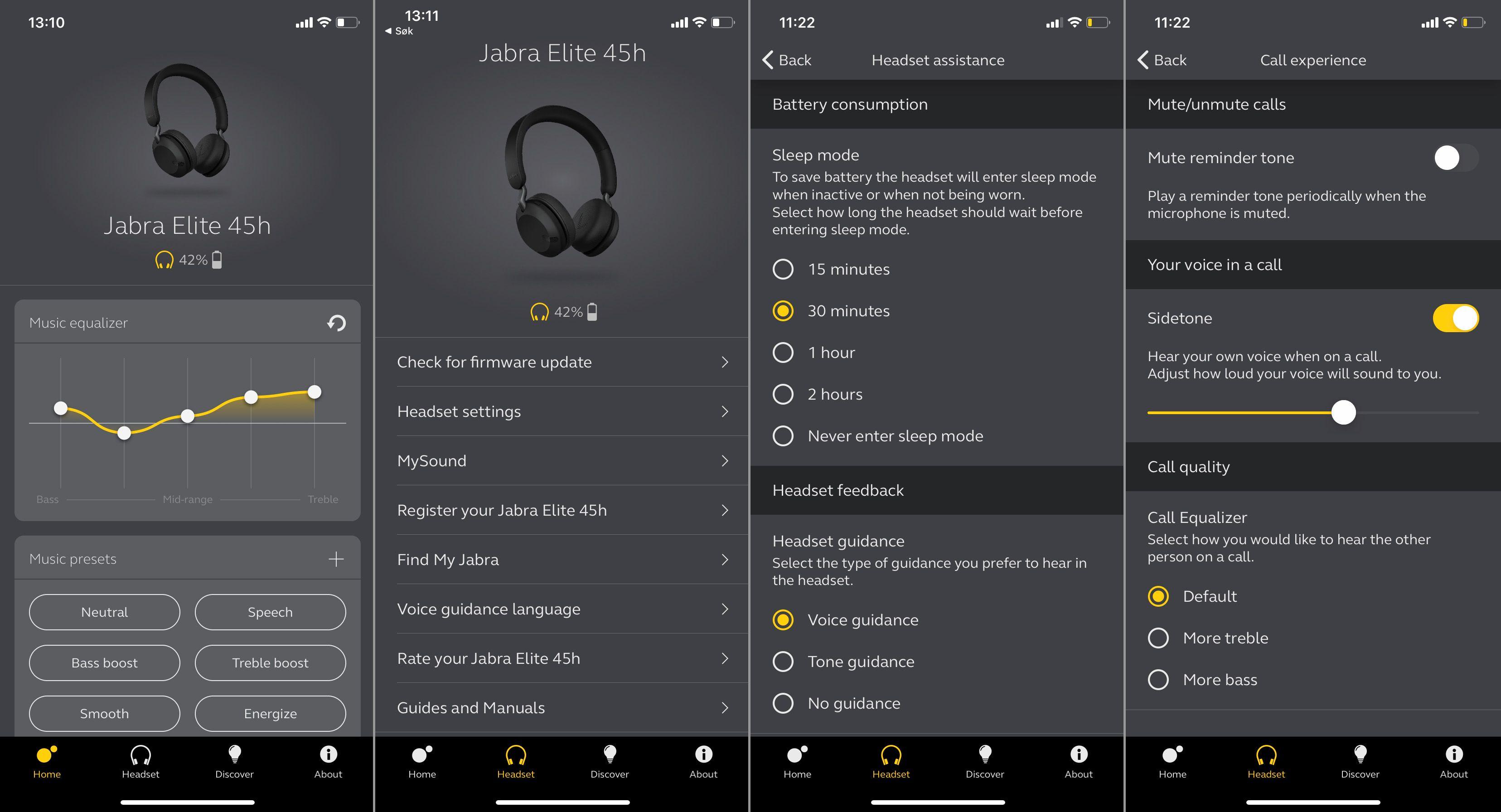 Jabras app er god, om enn noe mindre funksjonsrik her enn for storebror 85h.