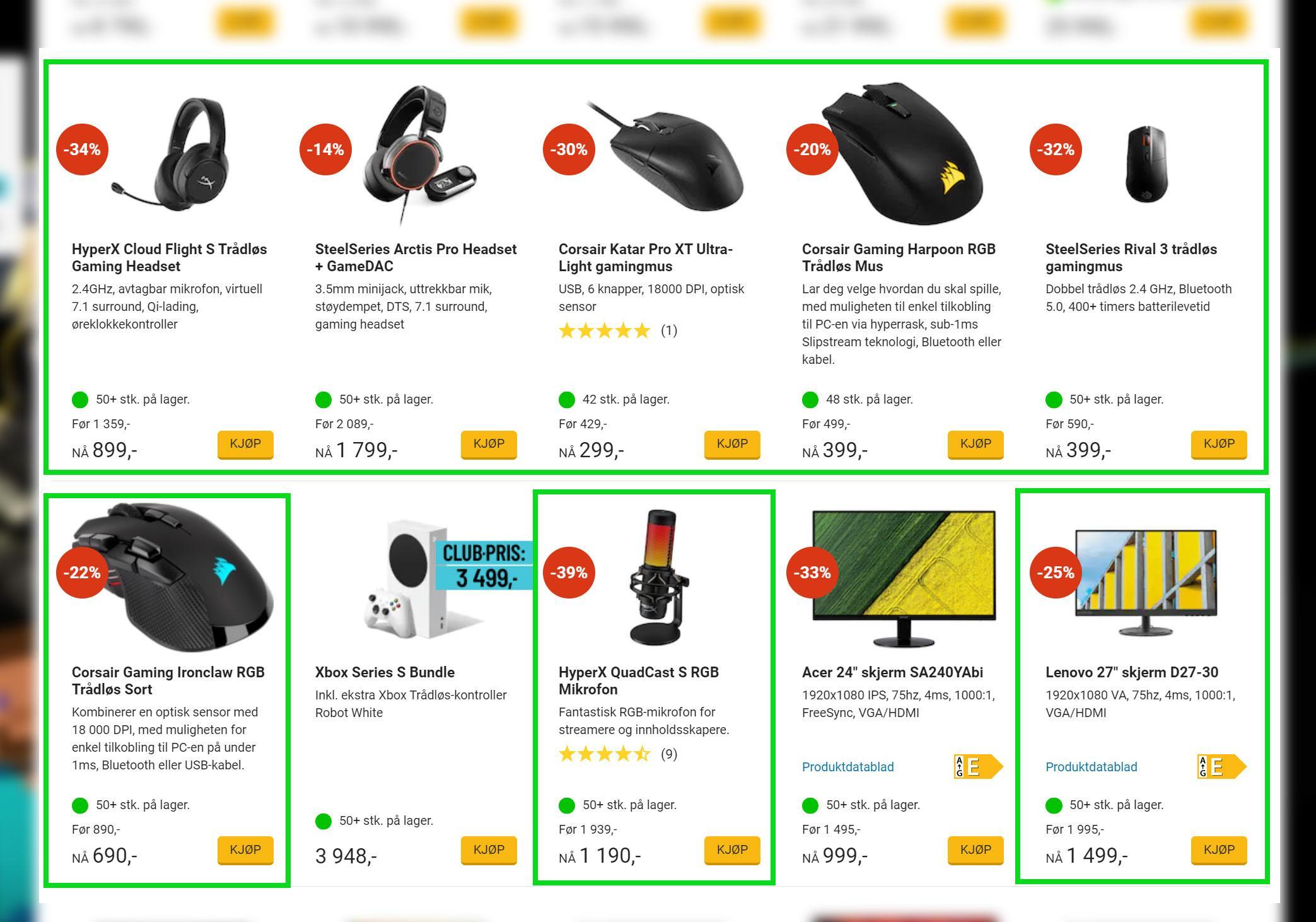 Selv om alle de grønnmerkede produktene har blitt anmeldt av brukerne, er det bare noen som er synlige på kampanjesiden.