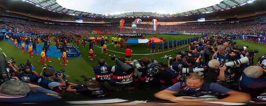 360-graders panoramabilde Fra EM-finalen i fotball i Frankrike2016.