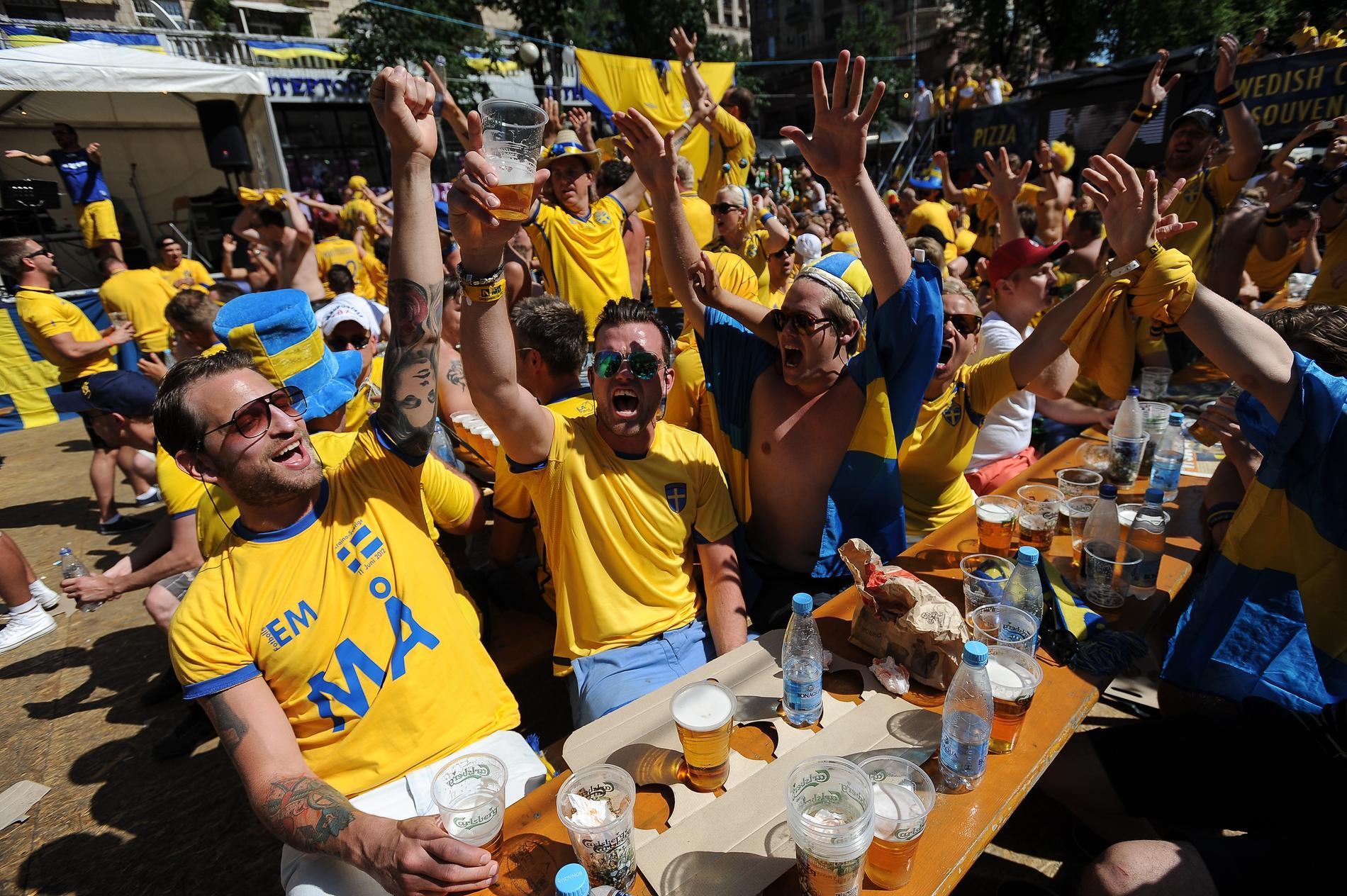Svenska fans firar under EM i Ukraina.