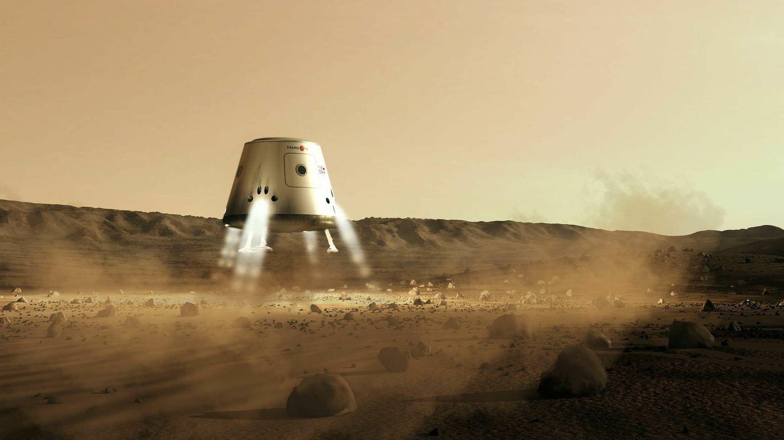 Kapsel går ned for landing.Foto: Mars One