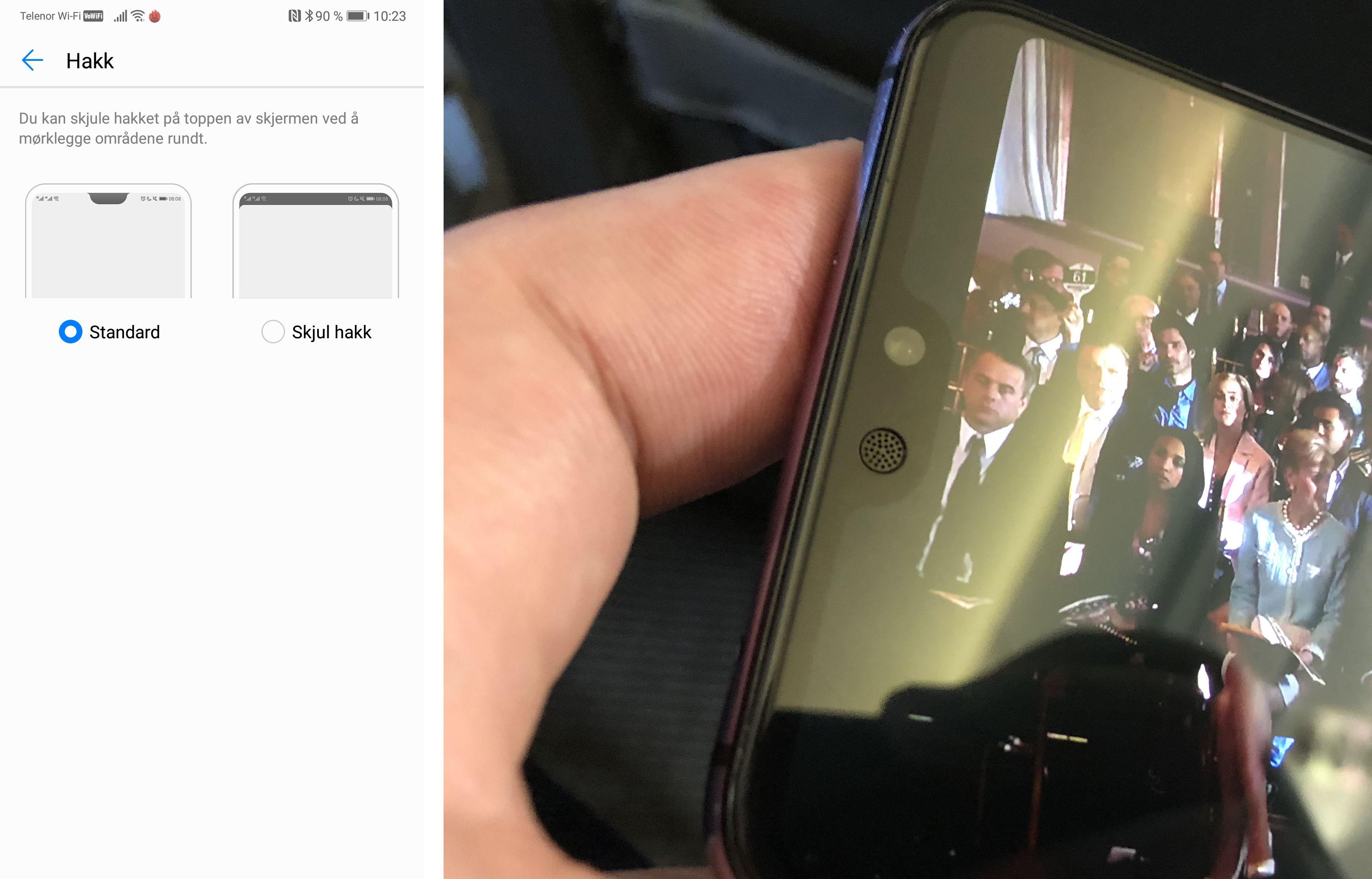 Du kan velge å skjule busslommen i toppen av skjermen. Da avrundes hjørnene og den lille sensorleppen blir nesten usynlig.