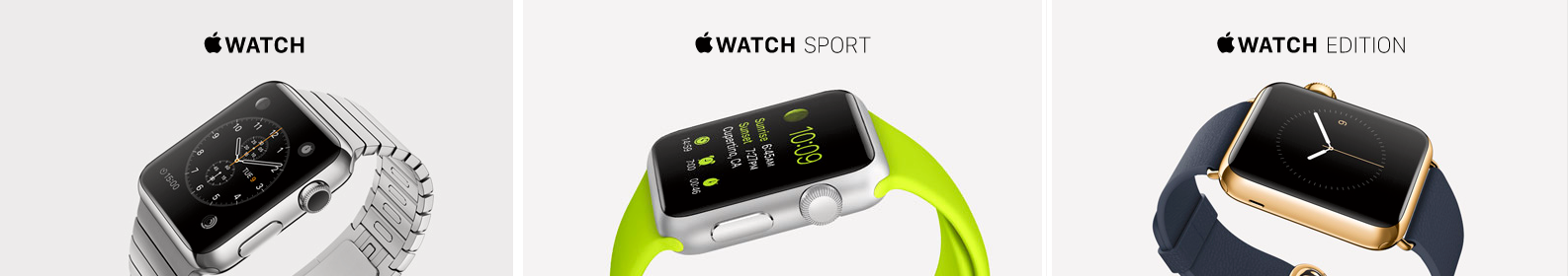 Apple Watch kommer i tre ulike grunnmodeller. Foto: Apple