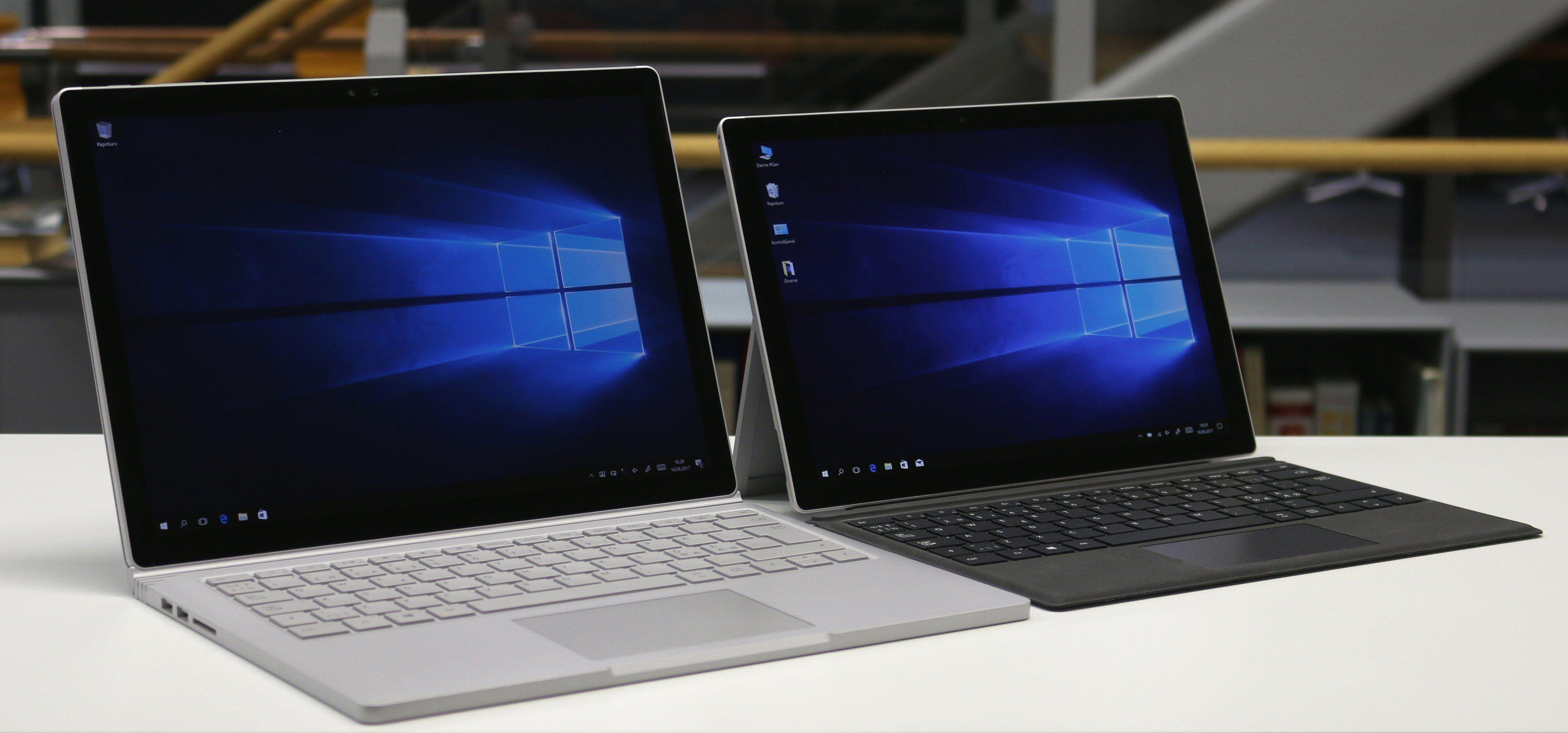 Surface Book (til venstre) er større, kraftigere og tyngre enn Surface Pro.