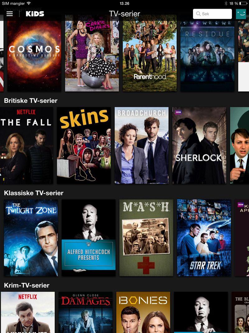 Se flere TV-serier via den amerikanske utgaven av Netflix. Foto: skjermbilde