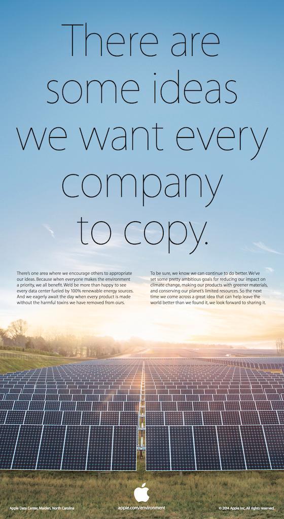 Slik ser Apples Earth Day-annonse ut. Apple og Samsung ligger stadig i en evigvarende patentstrid.Foto: Apple