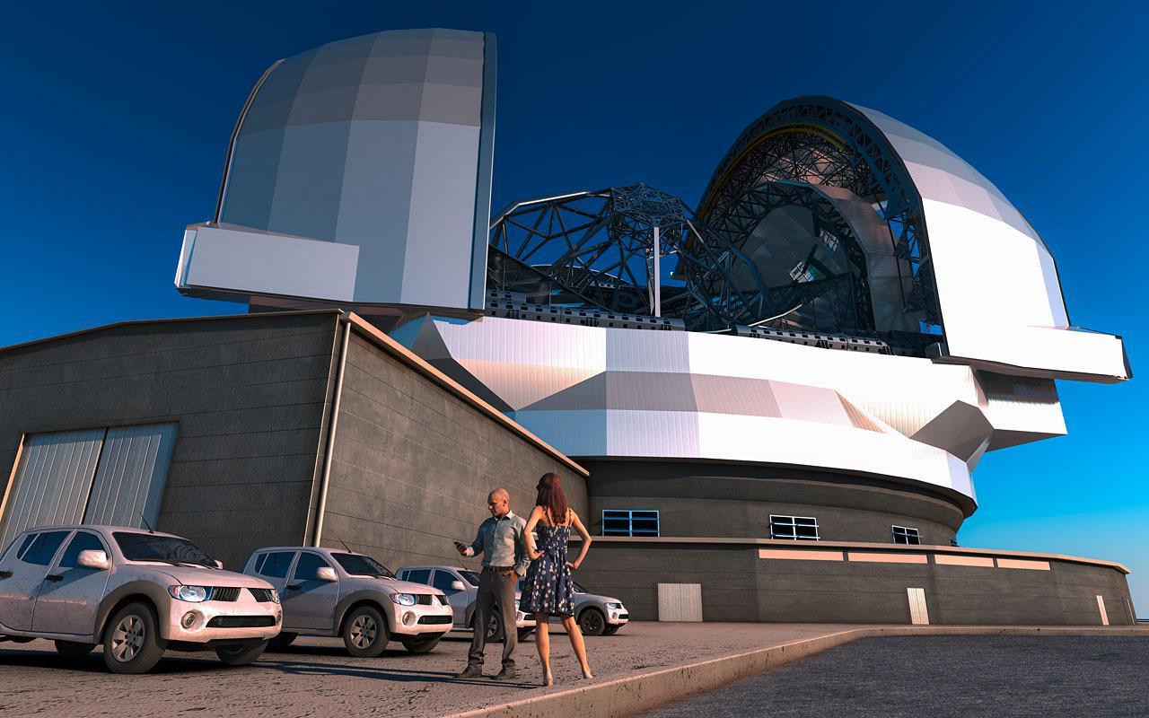 Teleskopet er innkapslet av en kuppel med en diameter på 85 meter.