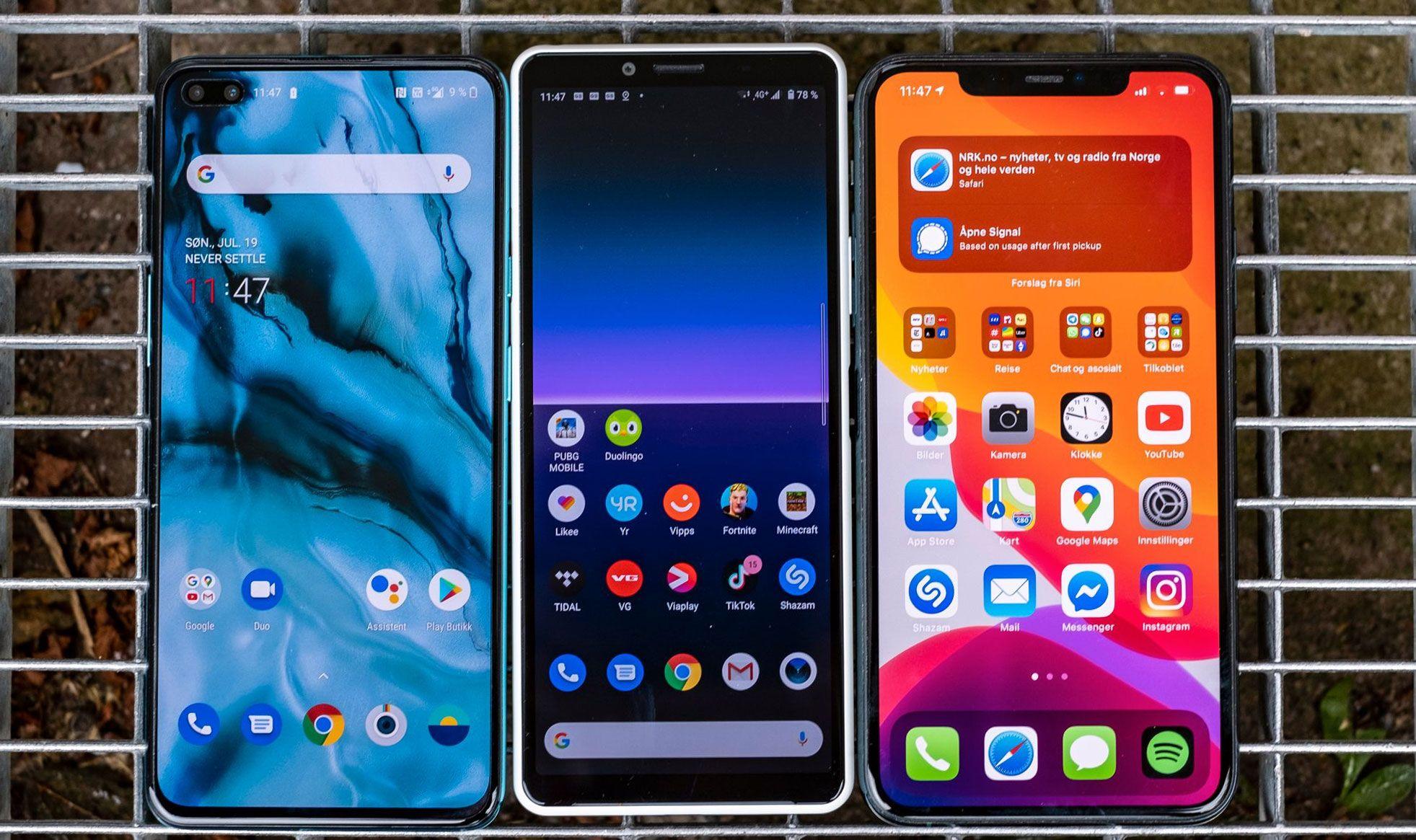 Fra venstre; OnePlus Nord, Xperia 10 II og - helt i andre enden prismessig - iPhone 11 Pro Max, som hverken har 5G eller skjerm med høy oppdateringsfrekvens. På papiret burde Nord være høyst konkurransedyktig med den tre ganger dyrere telefonen.