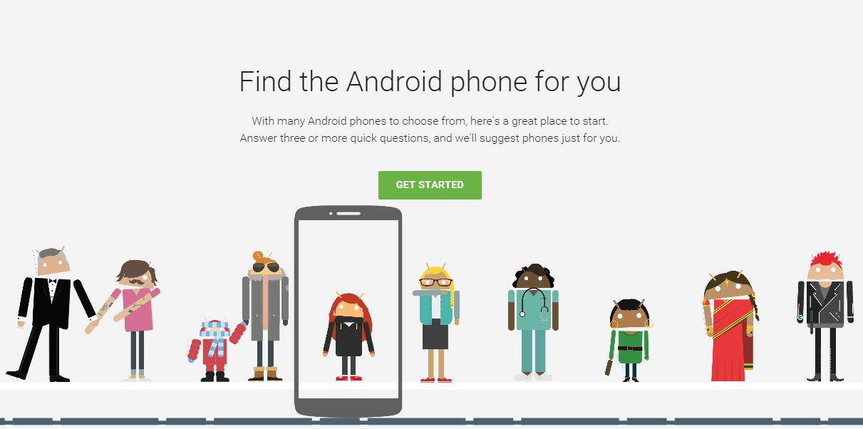 Google vil prøve å hjelpe deg å velge riktig Android-telefon med sin nye «Which Phone»-tjeneste. Foto: Skjermdump/Android.com