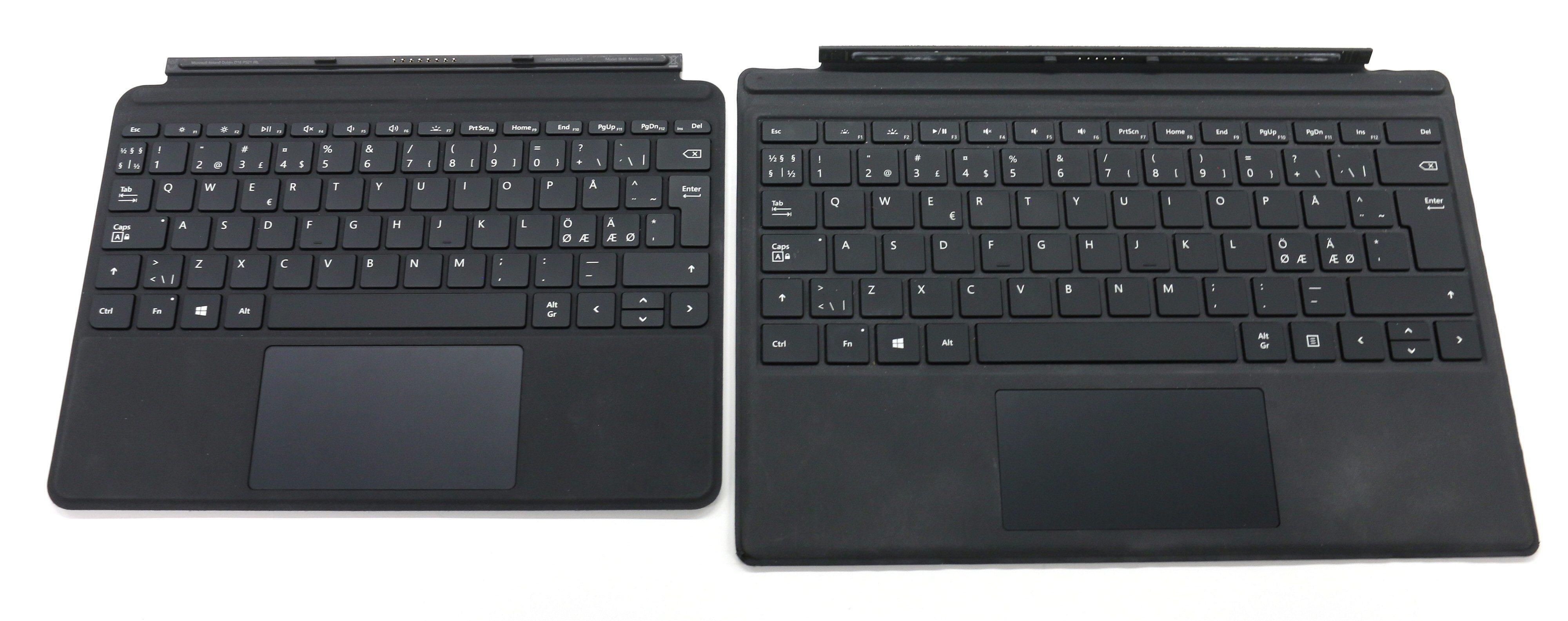 Tastaturdeksel til Surface Go ved siden av tilsvarende for Surface Pro.