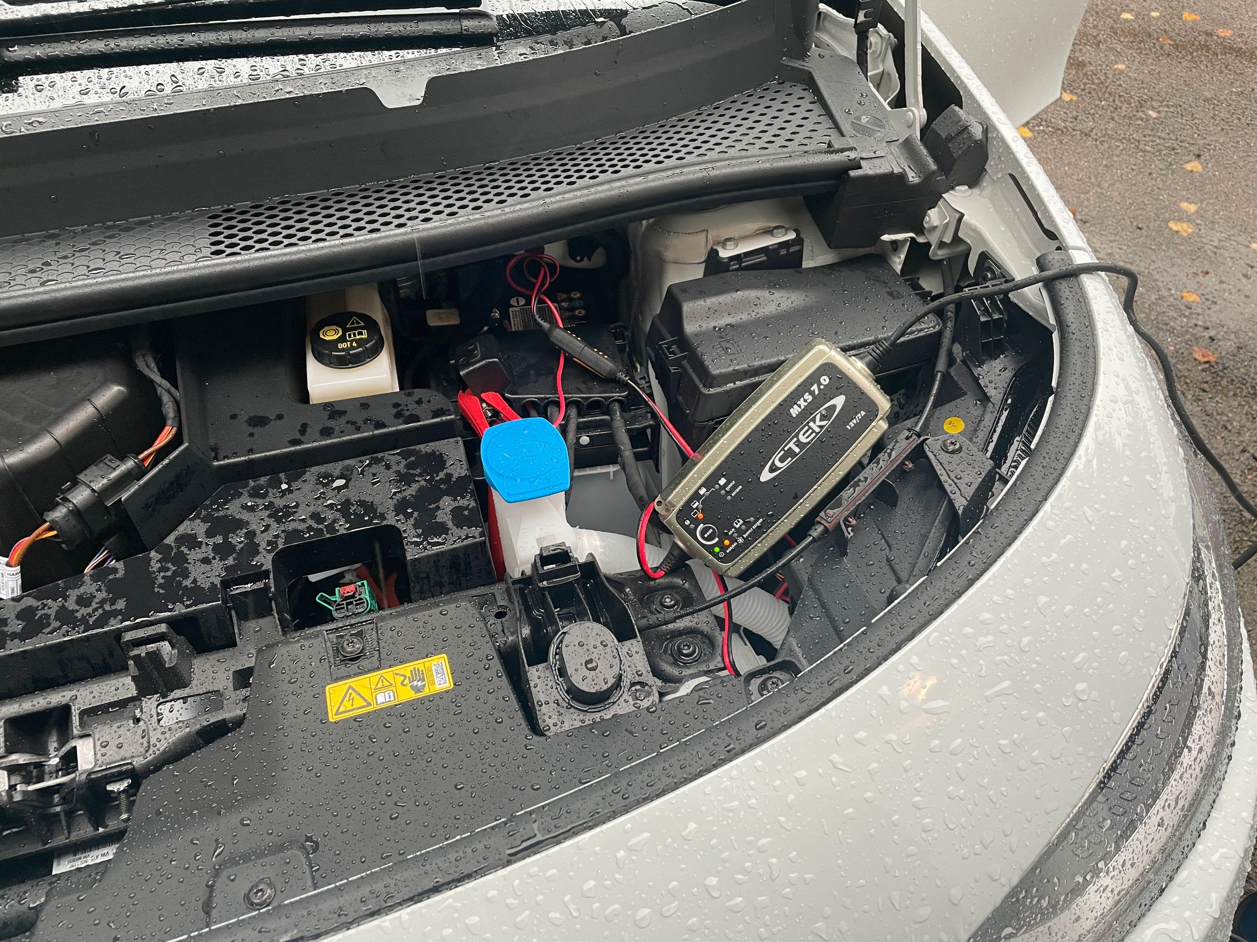 Syndebukken; et flatt 12-voltbatteri som ikke blir ladet så godt som det skal, og som bilen muligens trekker i overkant mye strøm av når den står i ro. Laderen startet med flatt-batteri-indikator da den ble koblet til.