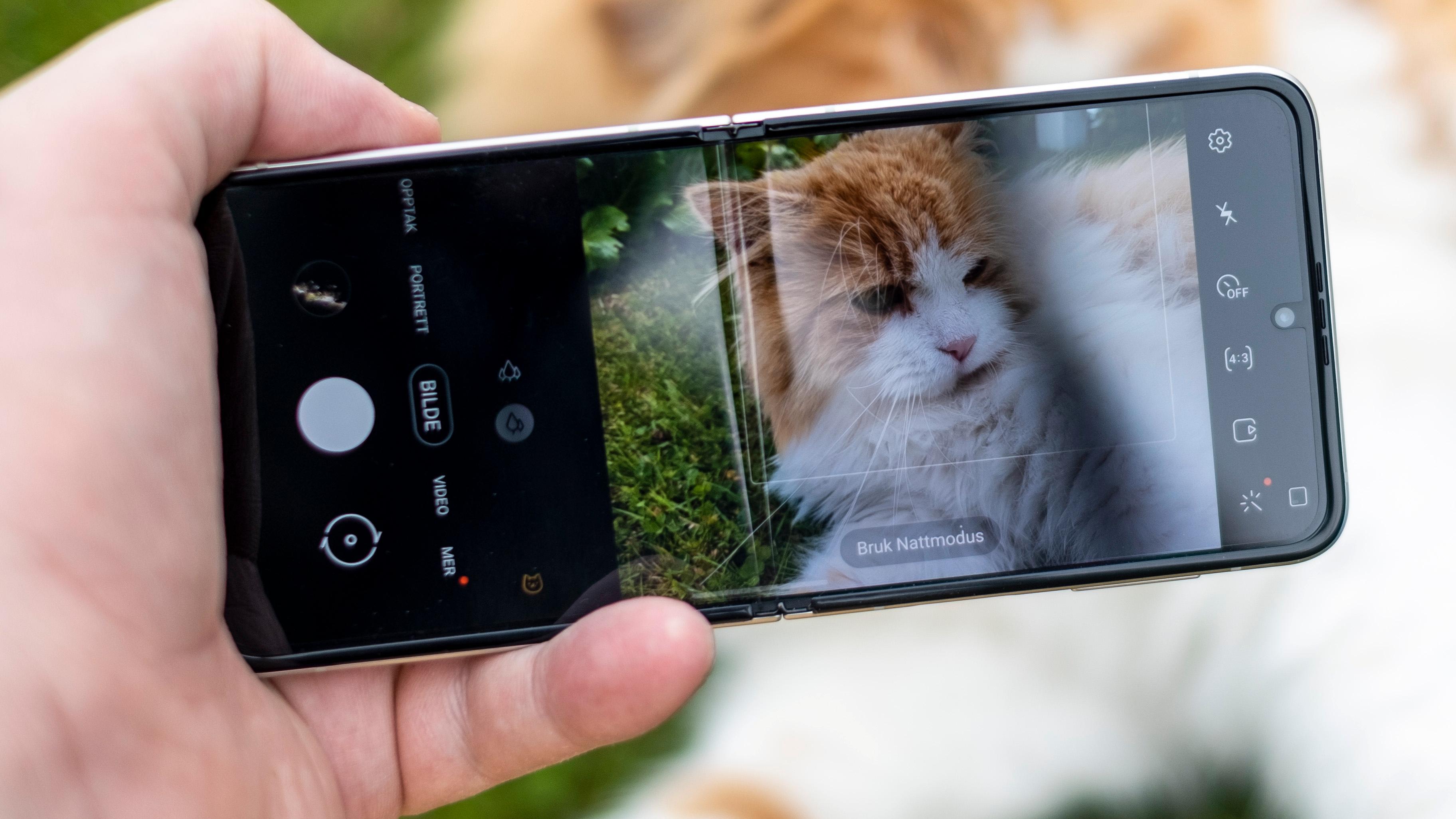 Hvis du ignorerer at telefonen av en eller annen grunn vil bruke nattmodus på katta, legger du muligens merke til plasten rundt selfiekameraet. Dette er en skjermbeskytter som ikke skal tas av på brettbare telefoner - den kan imidlertid byttes på verksted når den blir utslitt.