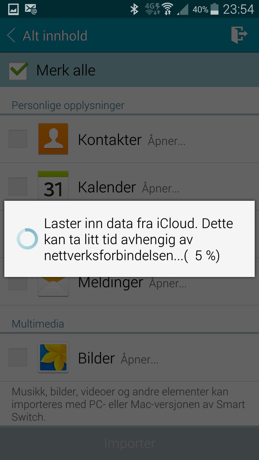 Samsung har laget en app som kan hente alle dine gamle data fra Apples iCloud-tjeneste, eller andre Android-mobiler. Praktisk!Foto: Finn Jarle Kvalheim, Amobil.no