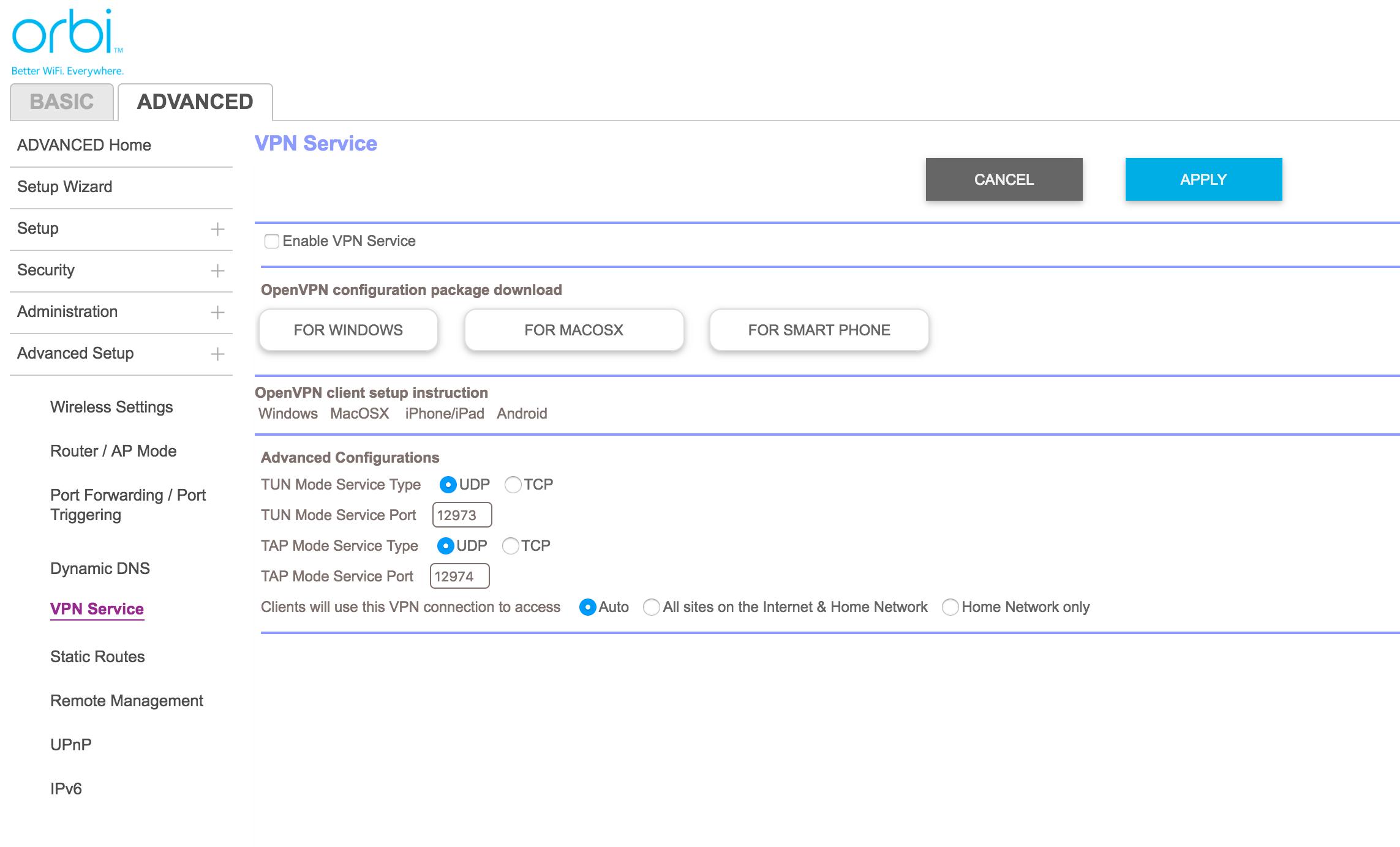 Orbi har støtte for en del avanserte funksjoner, blant annet VPN-server.