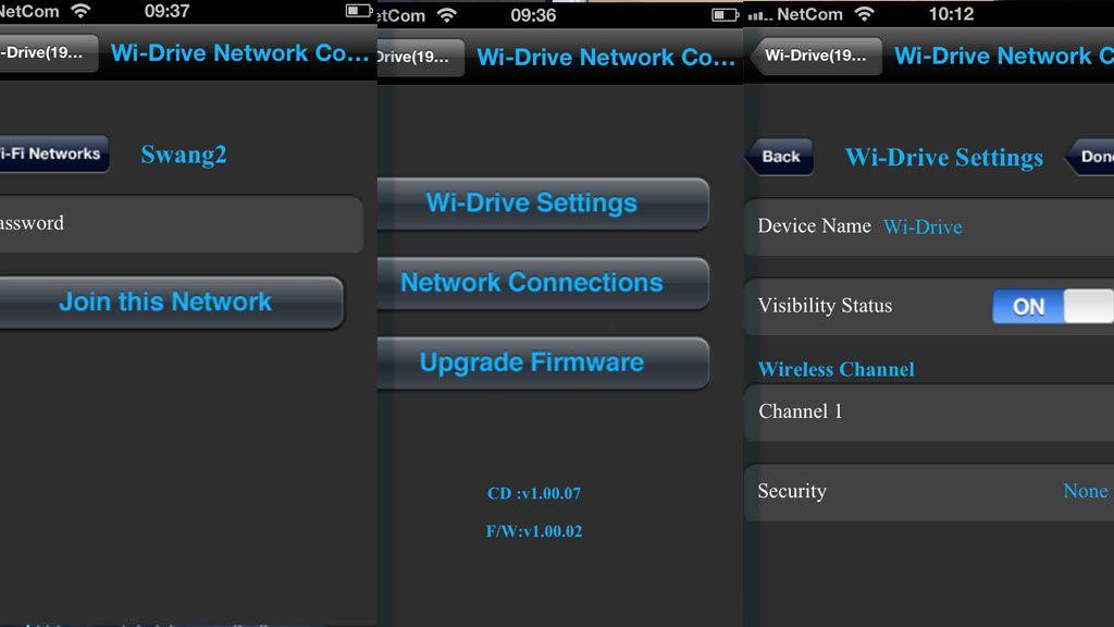Menyene på Wi-Drive er enkle å forstå. Du kan sette sikkerhetsnøkkel, så ikke andre bruker disken din.Foto: Espen Irwing Swang, Amobil.no