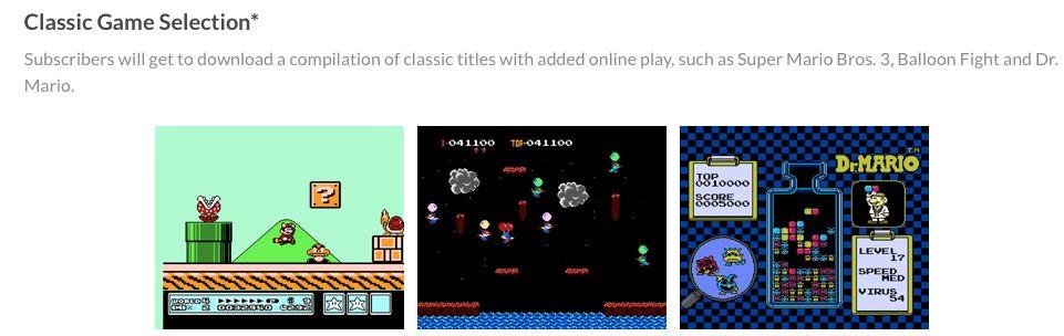 Betaler du for Nintendo Switch Online får du også tilgang til Classic Game Selection med utvalgte NES-titler.