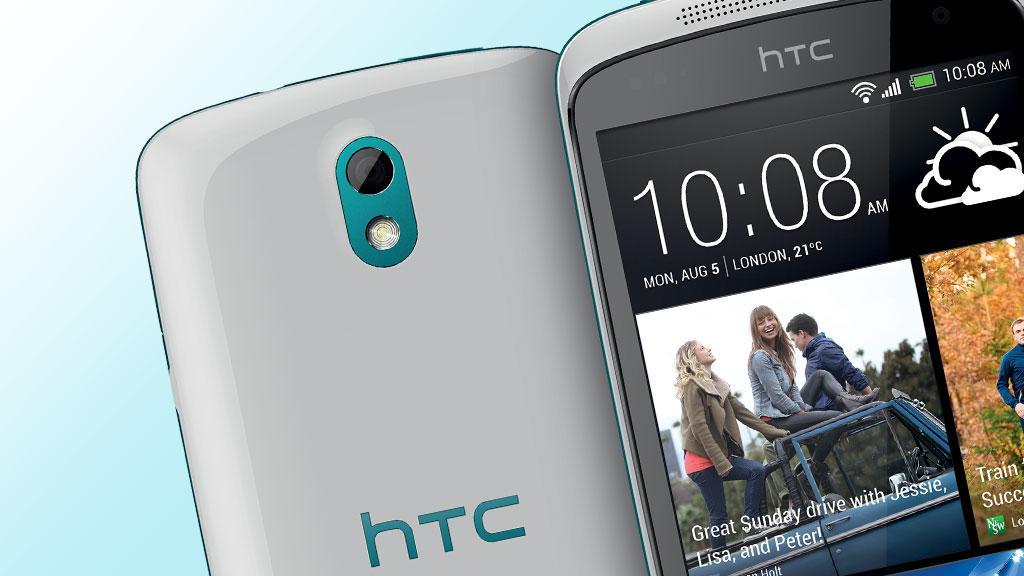 HTC Desire 500 er rimelig og lekker. Foto: HTC /montasje V.Haugen, Amobil