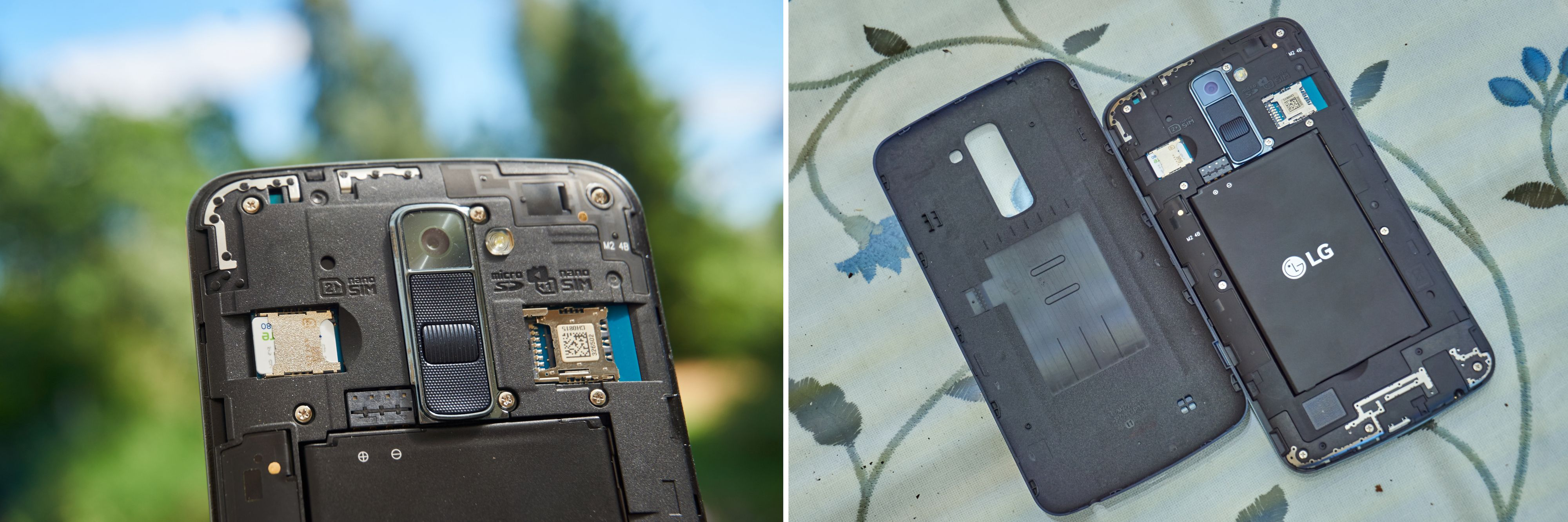 De to dedikerte SIM-kort-inngangene er et solid pluss. At du kan bytte batteri det samme. Bilde: Torstein Norum Bugge, Tek.no/montasje