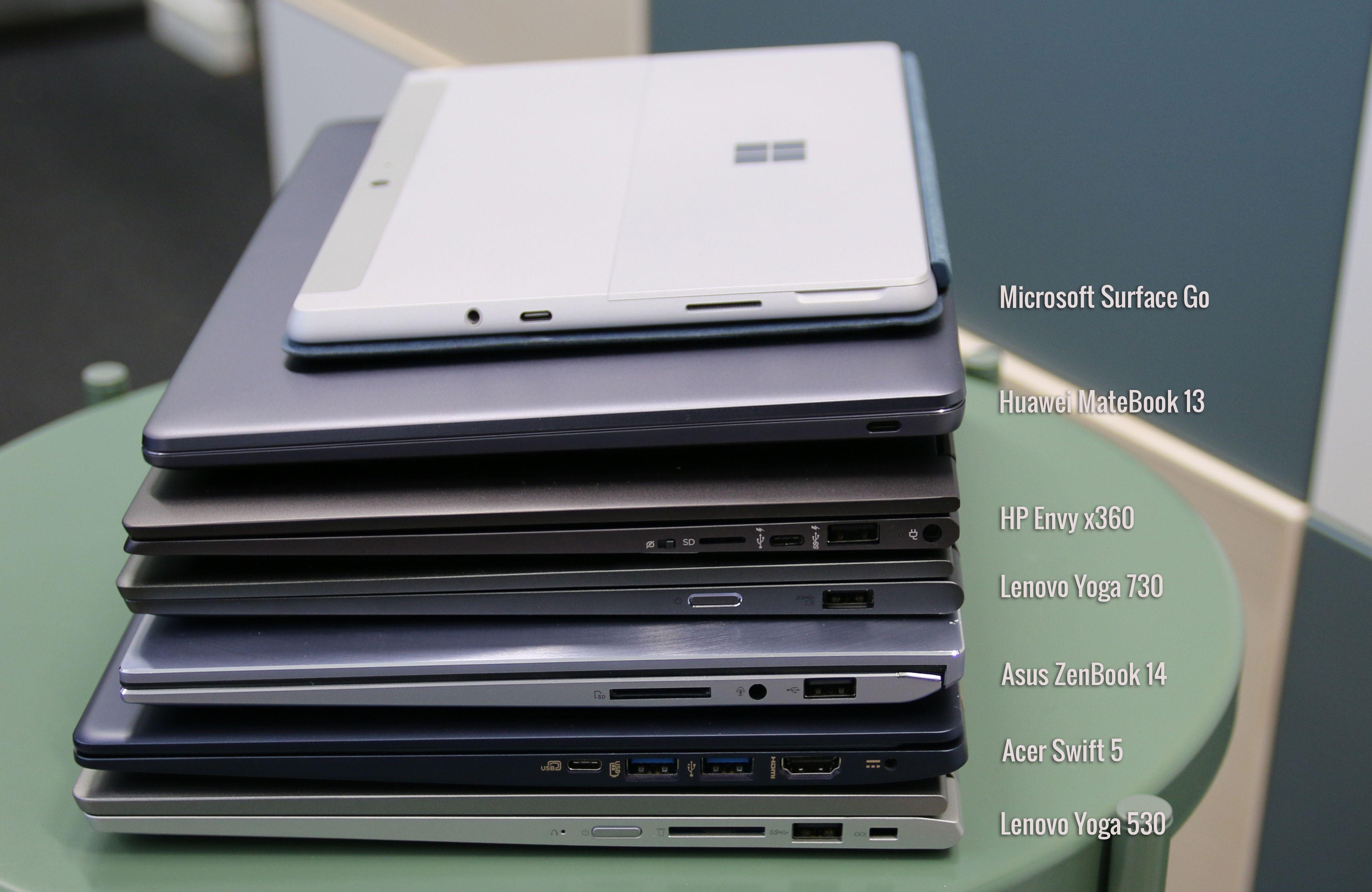 Huaweis MateBook er den minste av de tradisjonelle bærbare i testen, med HP Envy x360 og Lenovo Yoga 730 like bak.