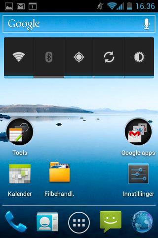 Widgeten nesten øverst i bildet lar deg raskt og enkelt skru på Wi-Fi, Bluetooth eller GPS, samt justere lysstyrken på skjermen.