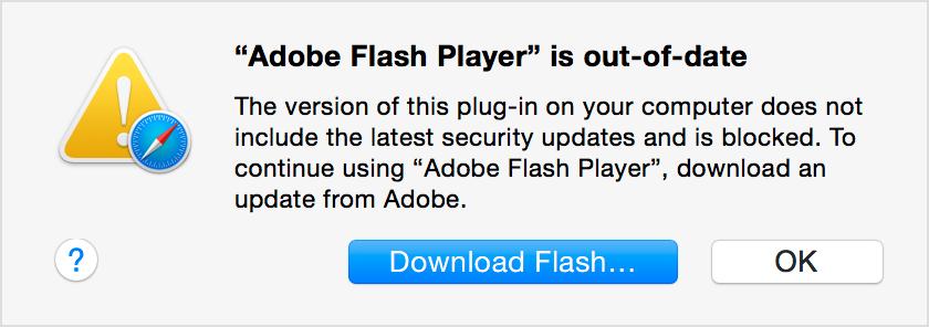Dette er blokkeringsmeldingen som Safari-brukere vil få opp dersom man kjører en utdatert Flash-versjon. Foto: Apple