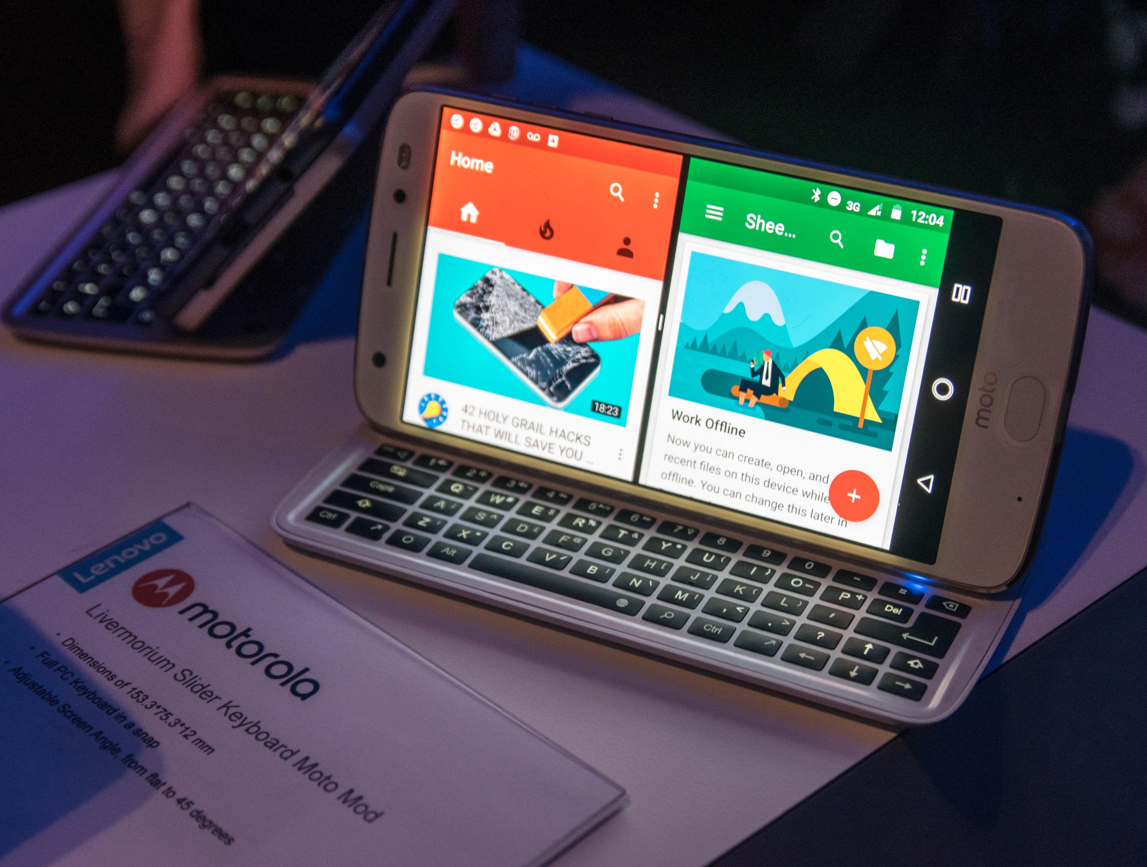 Slider Keyboard festes bakpå Moto Z-telefonene.
