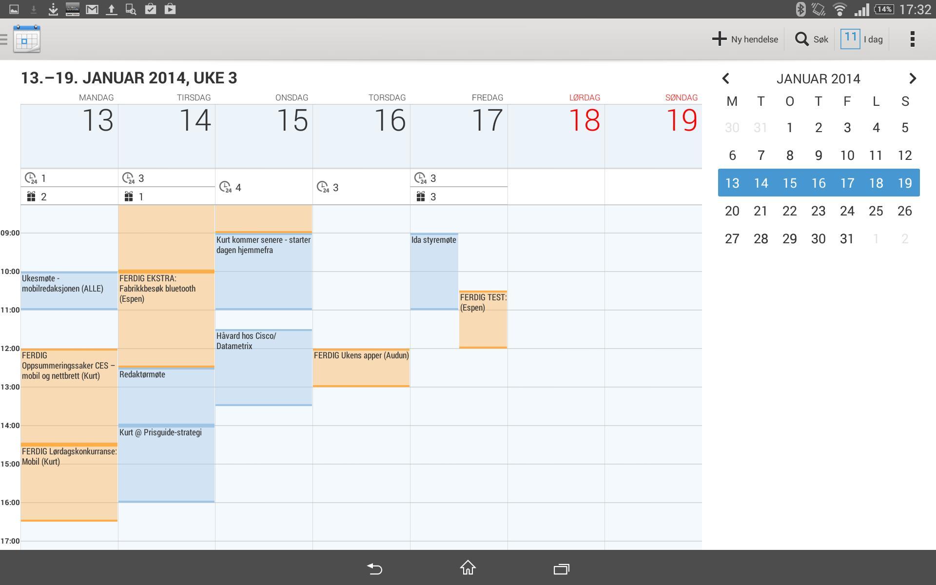 Kalenderen gir god oversikt. Den kan også vise været for de neste dagene.