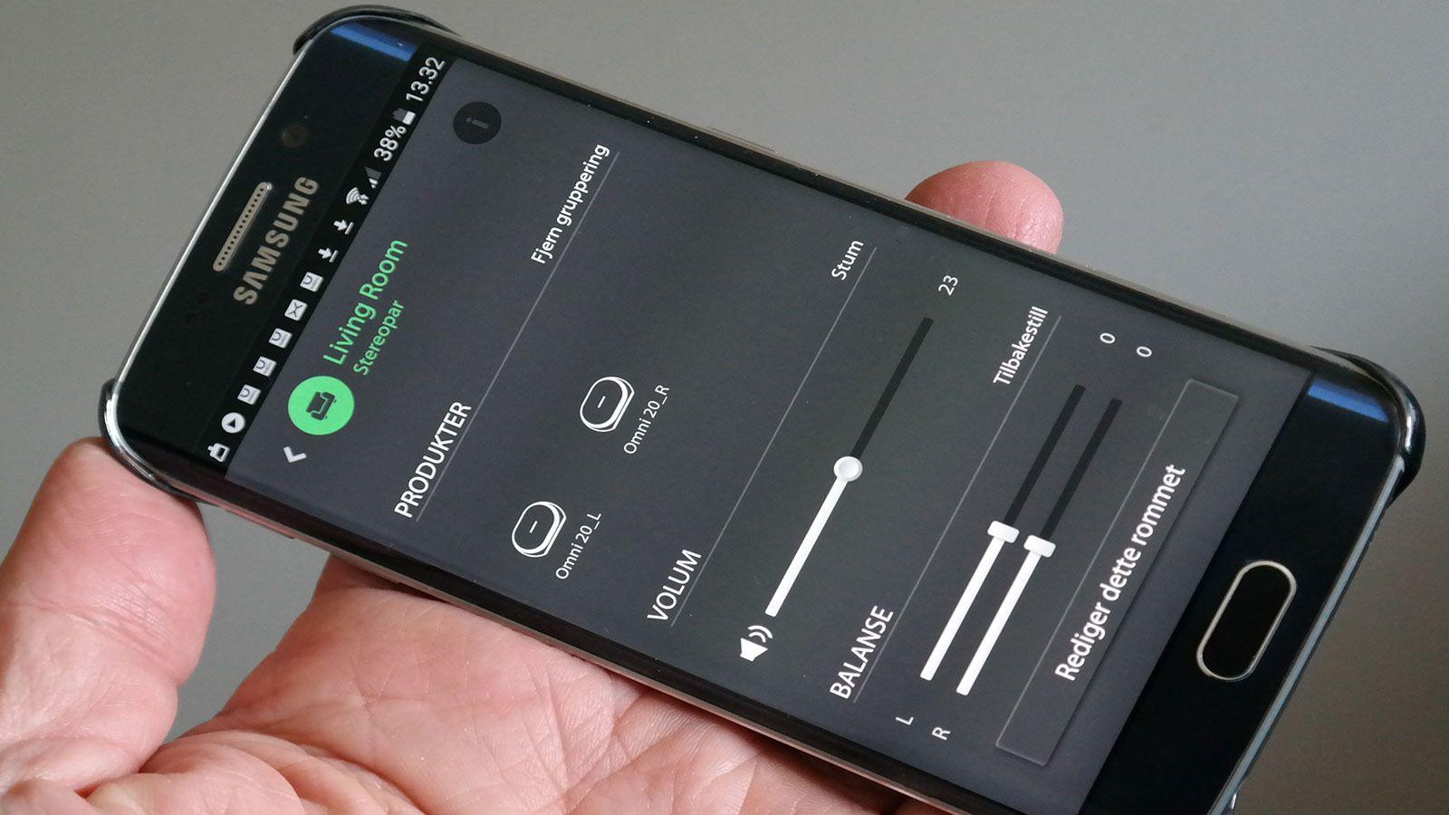 appen hjelper deg med oppsettet, for eksempel gjør den det enkelt å koble sammen høytalere i partymodus (spiller likt) eller som stereopar (spiller hver sin kanal). Foto: Espen Irwing Swang, Tek.no