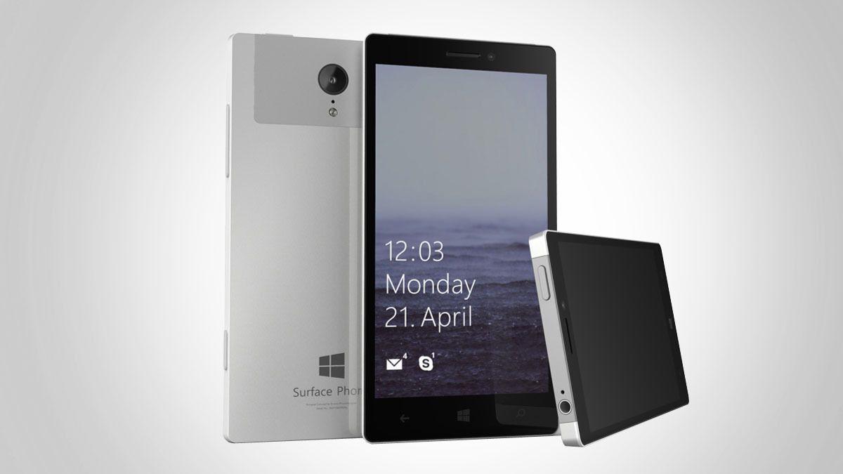 Dette bildet er en konsepttegning av det som kan bli Windows Surface Phone, som ifølge de ferske ryktene kan få litt mindre fokus på spesifikasjoner. Foto: PhoneDesigner/Teknofil.no/montasje
