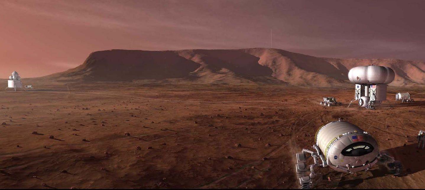 Et konseptbilde som viser hvordan en Mars-ekspedisjon kan se ut. Foto: NASA
