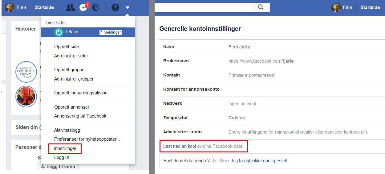 Før du eventuelt sletter Facebook-kontoen din bør du hente ut dataene dine. Det gjør du ved å trykke deg inn i innstillinger og velge det nederste valget på hovedsiden. Det vil ta noe tid før du varsles om at nedlastingen er klar.