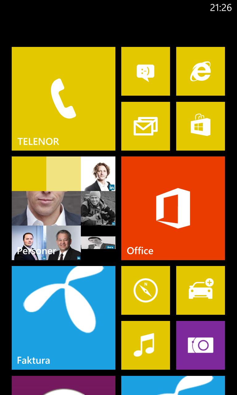 Brukergrensesnittet i Windows Phone 8.