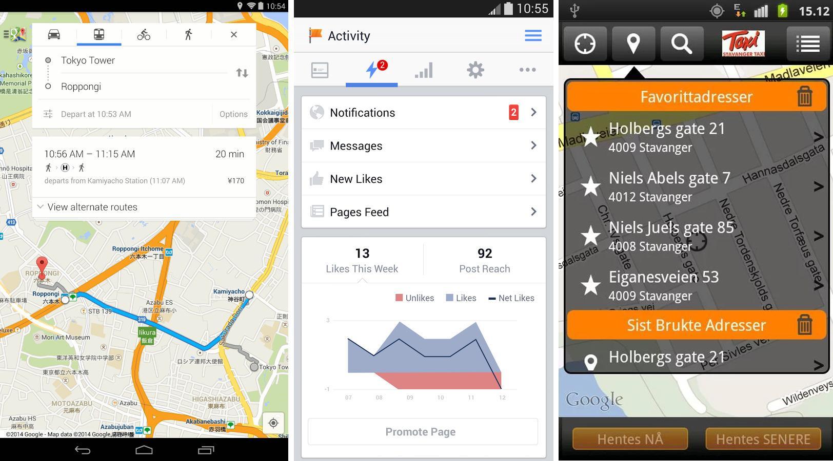 Jørgens favoritter: Google Maps, Facebook Pages Manager og Taxifix.