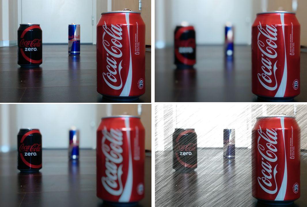 Samme bilde, ulike effekter basert på avstandsinformasjon.