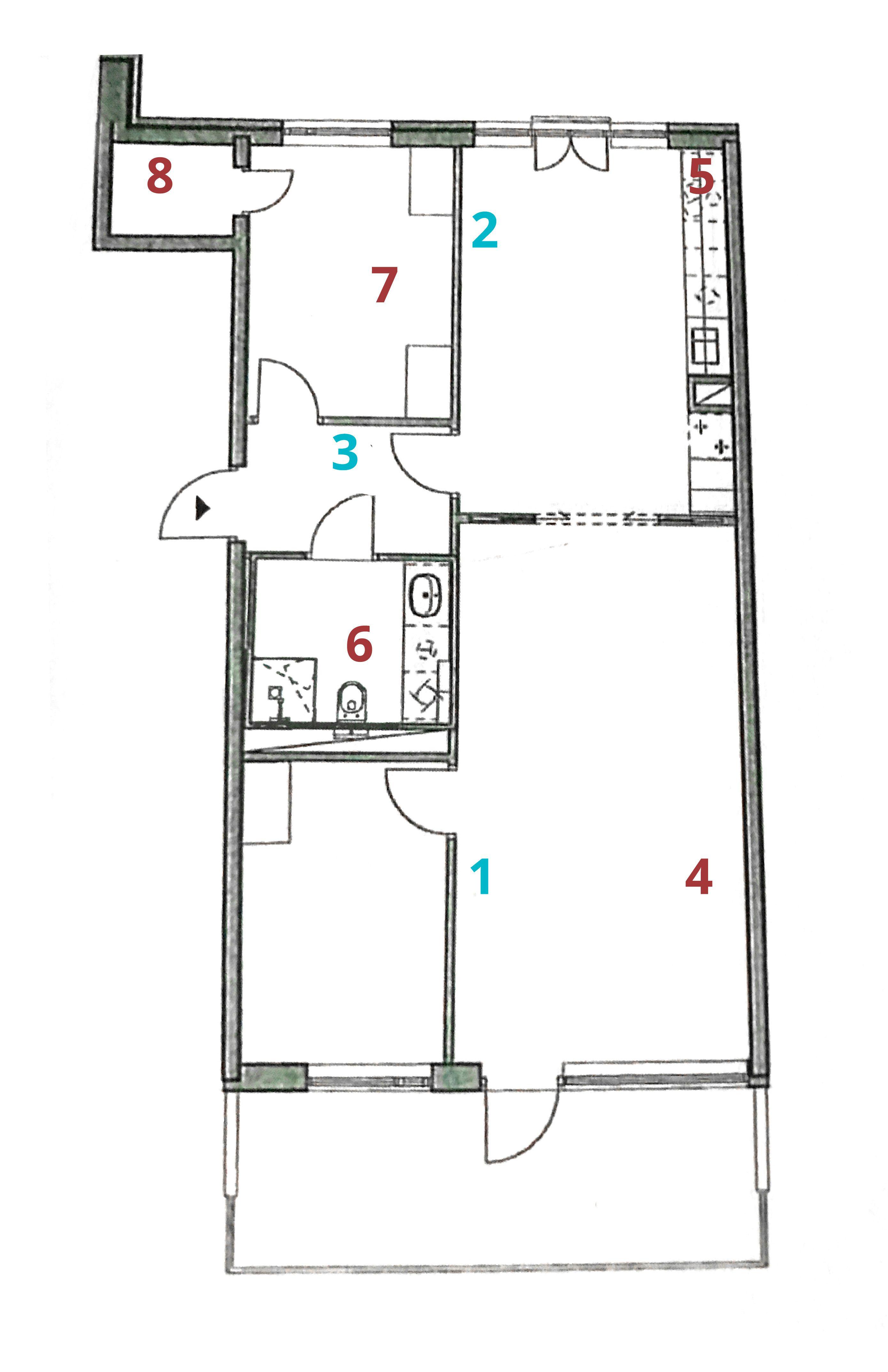 Slik ser testleiligheten ut: 1,2 og 3 er plasseringen av Airties-enhetene, 4-8 er de ulike testpunktene.