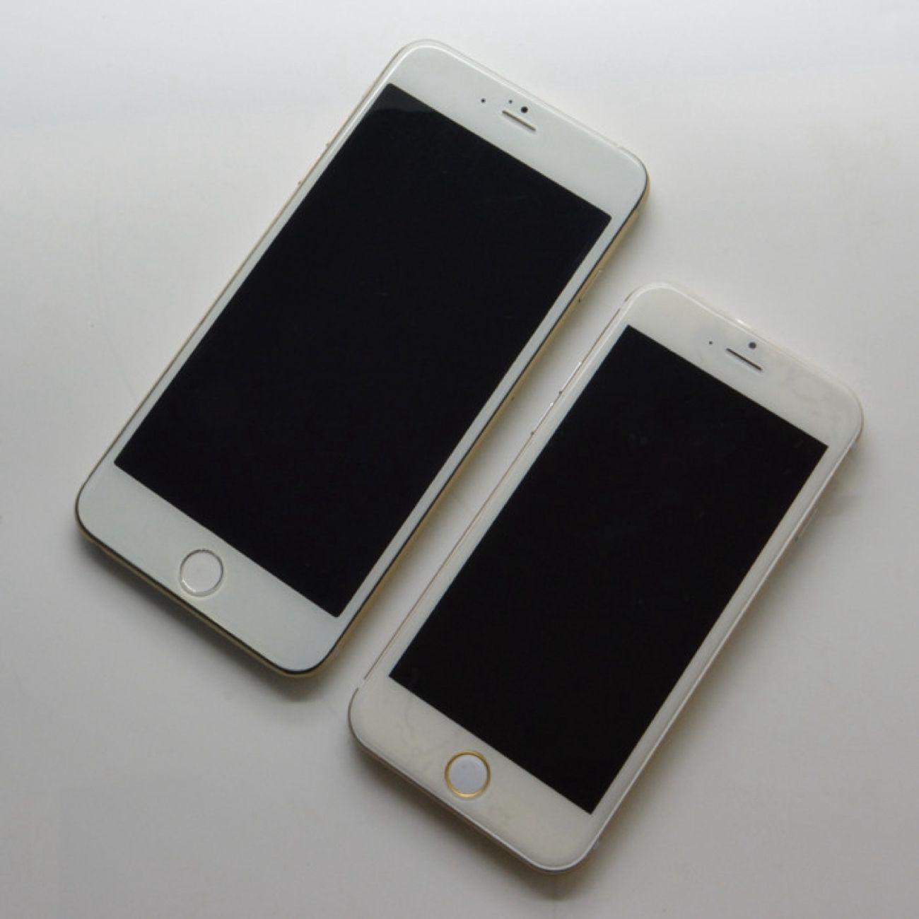 De to nye iPhone 6-modellene ved siden av hverandre.