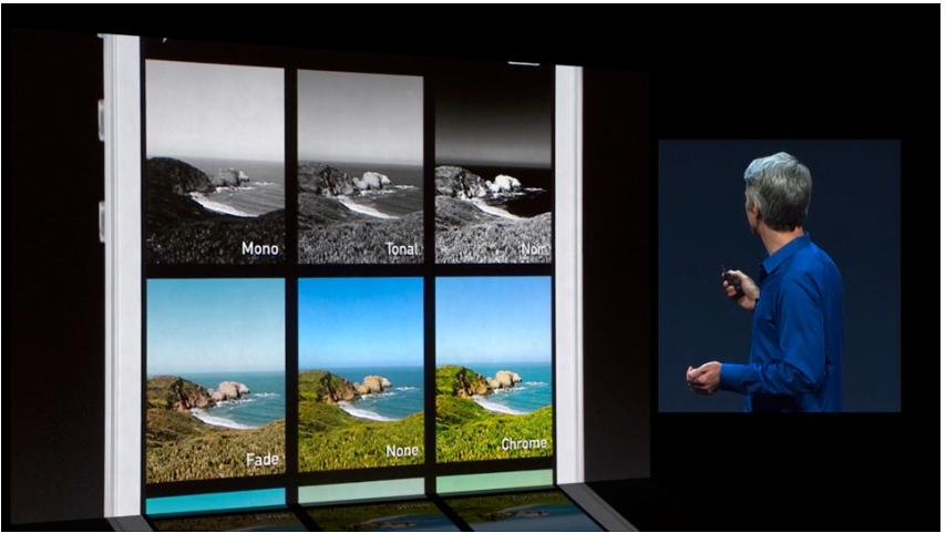 Det nye kameraet er fire kameraer i én pakke, med live-filtre som du kan få direkte opp på skjermen mens du tar et bilde.Foto: Apple