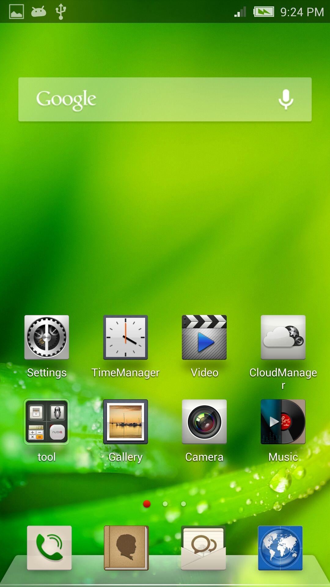 ZTE har fjernet app-menyen. Det betyr at du må holde streng kontroll med hjemmeskjermene dine for å beholde oversikt.Foto: Finn Jarle Kvalheim, Amobil.no