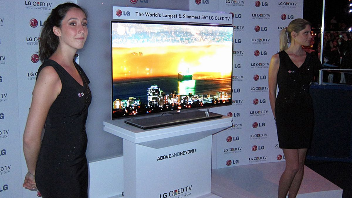 Det blir sannsynligvis OLED-skjermer av denne typen LG nå skal masseprodusere.Foto: Hardware.no
